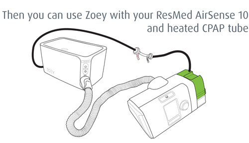 Then you can use Zoey with your ResMed AirSense 10 and heated CPAP tube.