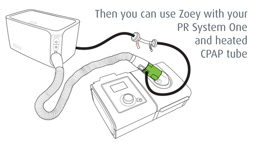 Then you can use Zoey with your RP System One and heated CPAP tube.