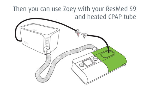Then you can use Zoey with your ResMed S9 and heated CPAP tube.